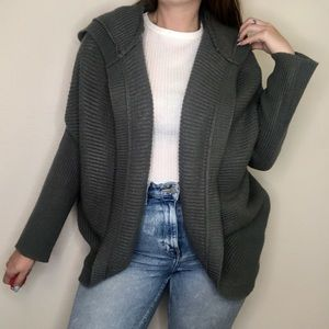 Tobi Thick Knit Lace Back Cardigan Hoodie Sweater